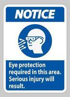 avis signe une protection oculaire requise dans cette zone, des blessures graves en résulteront vecteur