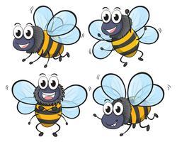 Quatre abeilles vecteur