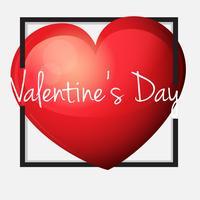 Modèle de carte Valentine avec grand coeur rouge vecteur