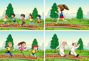 Ensemble d'enfants qui courent dans le parc vecteur
