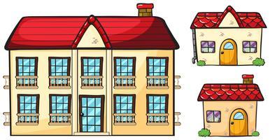 Un grand appartement et deux petites maisons vecteur