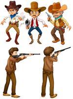 Cowboys et chasseurs vecteur