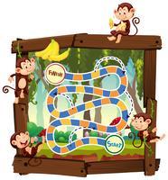 Singe dans le jeu de plateau de la jungle vecteur