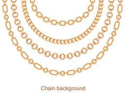 Fond avec des chaînes de collier en métal doré. Sur blanc