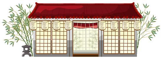 Un restaurant japonais sur fond blanc vecteur