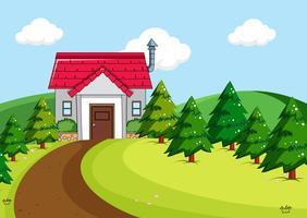 Maison simple en scène rurale vecteur