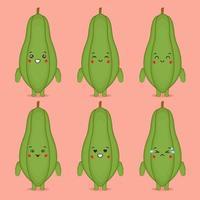 papaye mignonne avec diverses expressions vecteur
