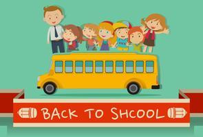 Retour à l'école avec les professeurs et les enfants vecteur