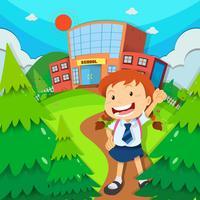 Fille va à l'école