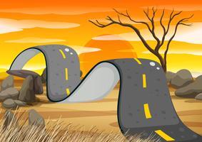 Route cahoteuse dans le champ