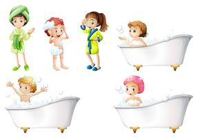 Enfants prenant un bain vecteur