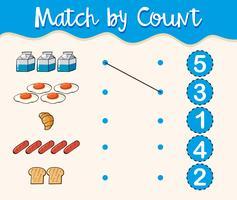 Match par nombre avec différents types d'aliments vecteur