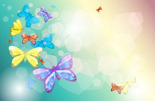Papillons colorés dans un papier spécial