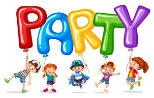 Enfants et ballon pour mot fête