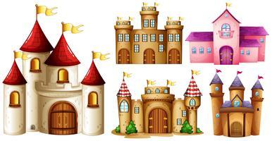 Cinq dessins de tours de château vecteur