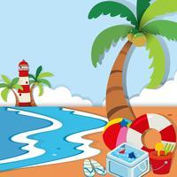Scène de plage avec phare et jouets vecteur