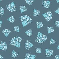Modèle sans couture de diamants bleus géométriques sur fond gris. Cristaux tendance branchés. vecteur