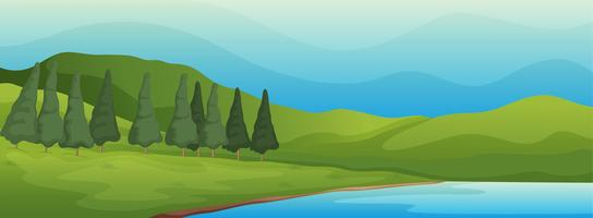 paysage verdoyant et lac vecteur