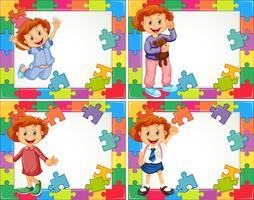 Modèle de cadre avec des enfants dans des costumes différents vecteur