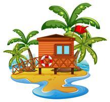 Scène avec maison de maître nageur sur la plage