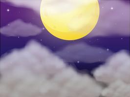 Scène de fond avec la pleine lune la nuit vecteur