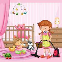 Mère nettoyant une chambre de bébé