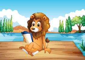 Un lion lisant un livre sérieusement