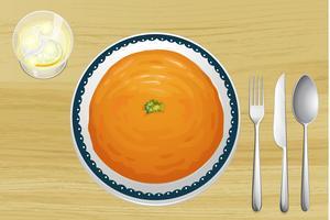 Une soupe à l'orange sur une assiette vecteur