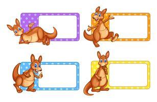 Étiquettes carrées avec kangourou vecteur