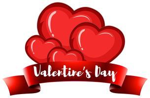 Modèle de carte Valentine avec coeurs vecteur