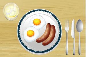 Saucisses et œufs vecteur