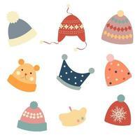 chapeaux d'hiver colorés sur fond clair. ensemble de bonnets tricotés par temps froid. illustration vectorielle en style cartoon plat. vecteur