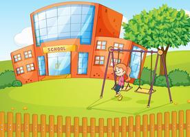 Une fille et une école vecteur