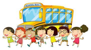 Etudiants et bus scolaire vecteur