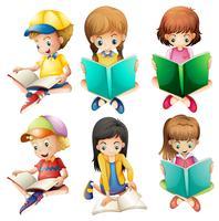 Enfants lisant vecteur