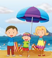 Une famille à la plage vecteur