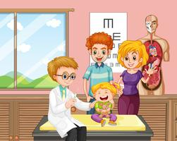 Un docteur qui donne un vaccin à l'enfant vecteur