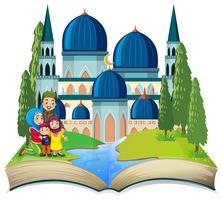 Un livre ouvert à thème musulman vecteur
