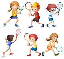 Actions de tennis vecteur