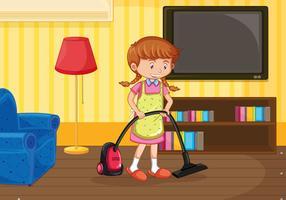 Une fille nettoie le salon