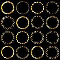 cadres de cercle de chaîne d'or mod vecteur