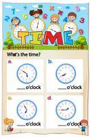 Feuille de travail pour indiquer l'heure