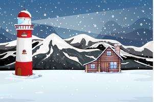 Paysage rural de nuit d'hiver