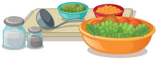 Bols de légumes et assaisonnements vecteur
