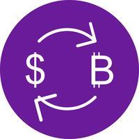 Échange de bitcoins avec l'icône de vecteur de dollar