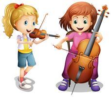 Filles jouant du violon et du violoncelle vecteur