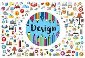 Logo du designer et artiste pinceau vecteur