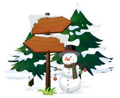 Bonhomme de neige avec modèle de panneau vecteur