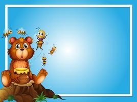 Modèle de bordure avec ours et abeilles vecteur
