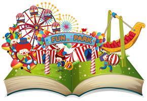 Thème du parc d'amusement à livre ouvert vecteur
